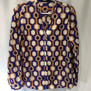 The Limited Satin Blouse Blue Gold Chain Print S